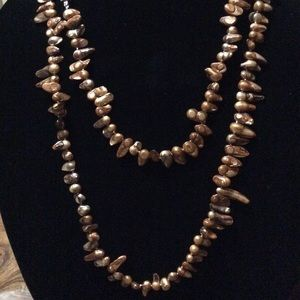 """Bronze/brown freshwater pearl necklace 50"""""""